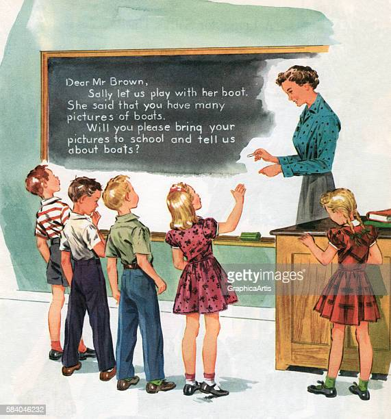 Illustration of a teacher teaching her class how to write sentences at a blackboard circa 1950 Screen print