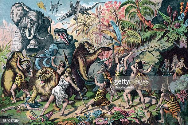 Illustration of a tribe of prehistoric 'cavemen' battling ferocious animals 1906 Chromolithograph