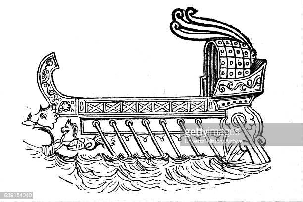 Illustration of a tubshaped Phoenician Galley Dated 7th Century BC