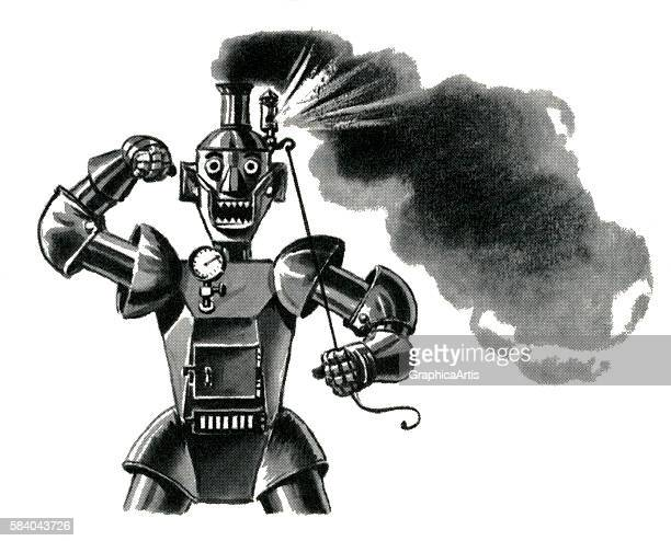 Illustration of a very angry robot blowing his top 1949 Screen print