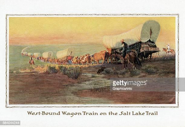 Illustration of a wagon train heading west on the Salt Lake Trail 1914 Screen print