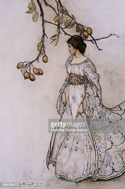 Illustration of a Woman and a Kiwi Tree by Arthur Rackham