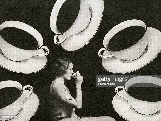 Illustration of a woman drinking coffee surrounded by coffee cups 1930s Screen print