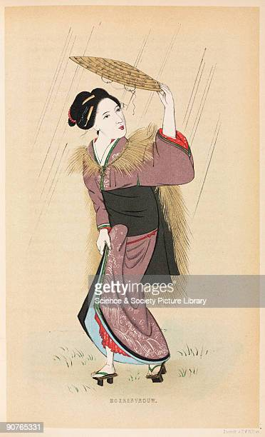 Illustration of a woman wearing sandals raised on blocks, from �Vijf jaren in Japan, � by J L C Pompe van Meerdervoort , a Dutch medical doctor who...