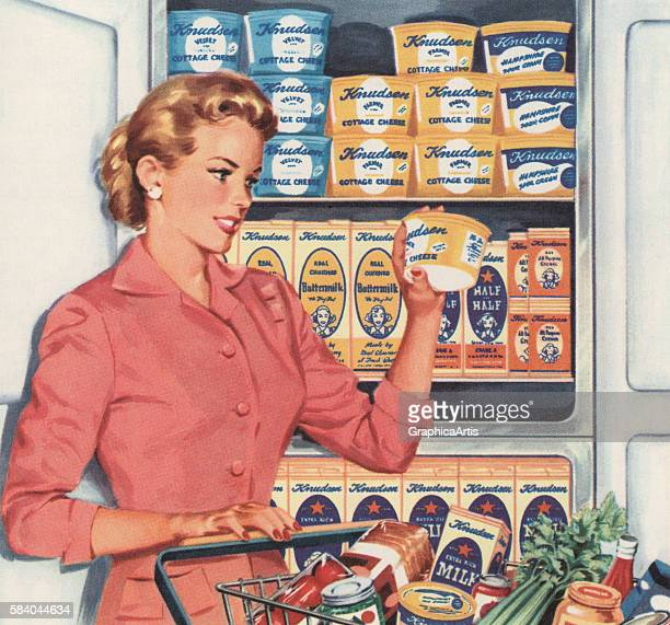 Illustration of a woman with a full grocery cart shopping at a supermarket 1957 Screen print