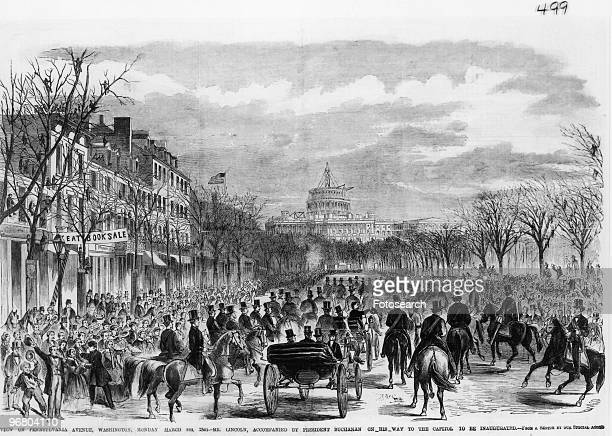 Illustration of Abraham Lincoln and President James Buchanan in a carriage being driven to the inauguration of Mr Abraham Lincoln March 4 1861