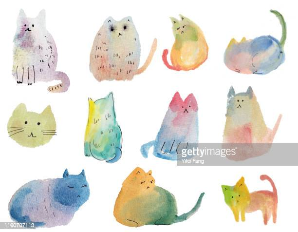 illustration of abstract multi-coloured cats - illustration stock pictures, royalty-free photos & images