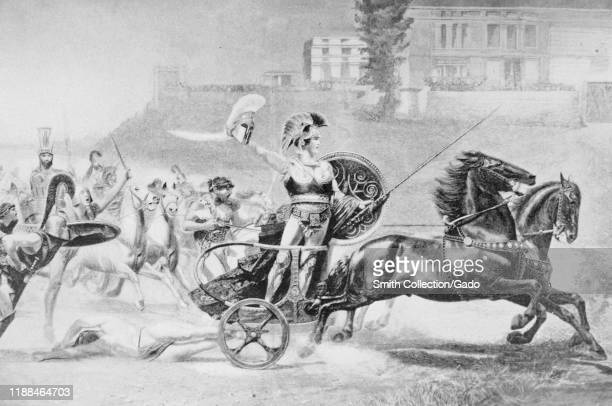 Illustration of Achilles riding a horsedrawn chariot dragging the body of Hector by artist R von Deutch from the book The Story of the Greatest...