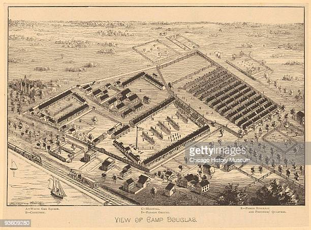 Illustration of aerial view of Camp Douglas the Union prisoner of war camp located in Chicago 1864 The camp was located on 31st street and Cottage...