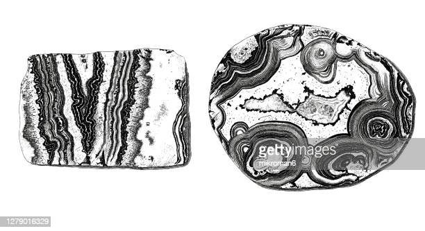 illustration of agate mineral, rock - high scale magnification stock pictures, royalty-free photos & images