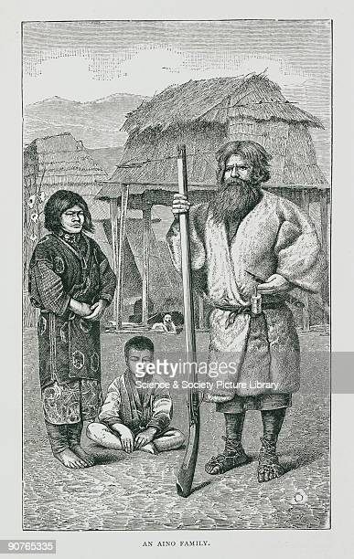 Illustration of Aino or Ainu people aborigines of Japan from 'Japan travels and researches undertaken at the cost of the Prussian government' by...