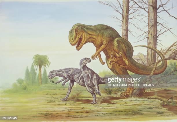 Illustration of Allosaurus chasing two Dryosauruses
