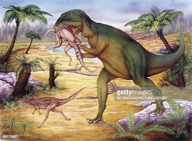 Illustration of Allosaurus hunting