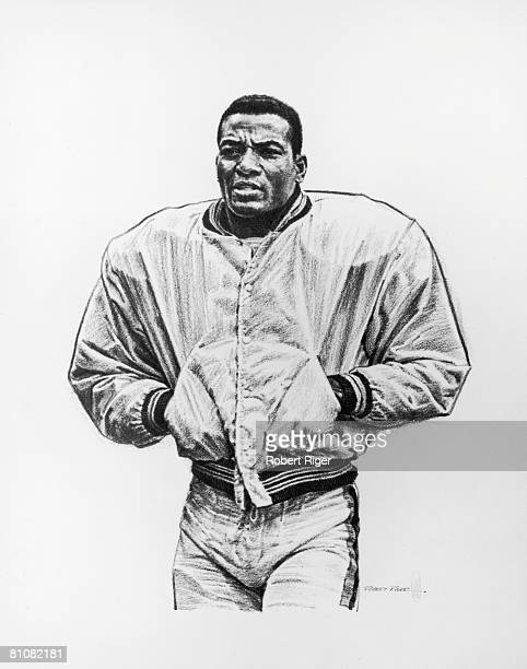 Illustration of American football player Jim Brown as he stands with his hands in the pockets of his jacket late 1950s or mid 1960s