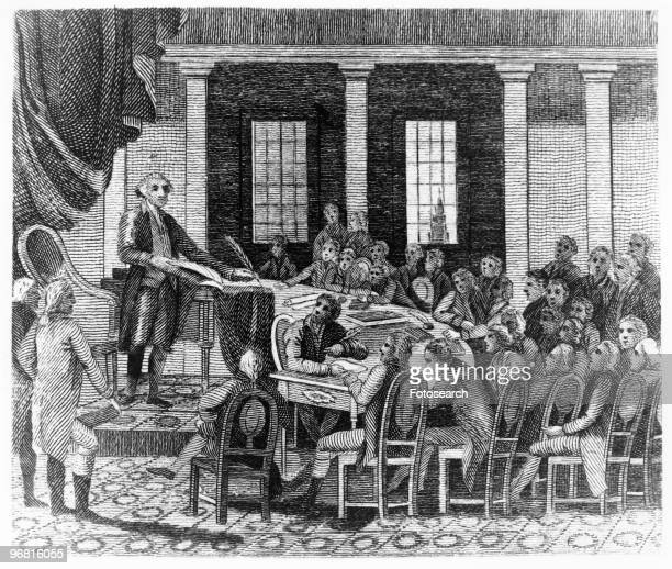 Illustration of American President George Washington at constitutional convention circa 1787