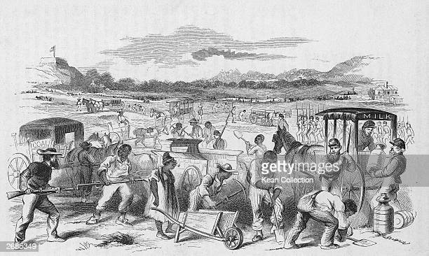 Illustration of American slaves being forced to work on Confederate fortifications during the American Civil War Nashville Tennessee Mid19th Century