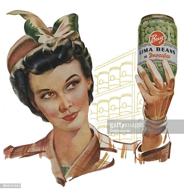 Illustration of an American housewife holding up a glass jar of canned lima beans 1942 Screen print