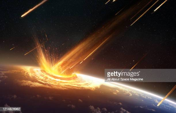 Illustration of an asteroid or comet striking the surface of the Earth, created on July 19, 2015.