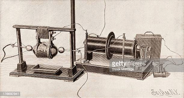 Illustration of an early wireless transmitter with telegraph key designed by Italian physicist Guglielmo Marconi to send Morse code signals mid to...