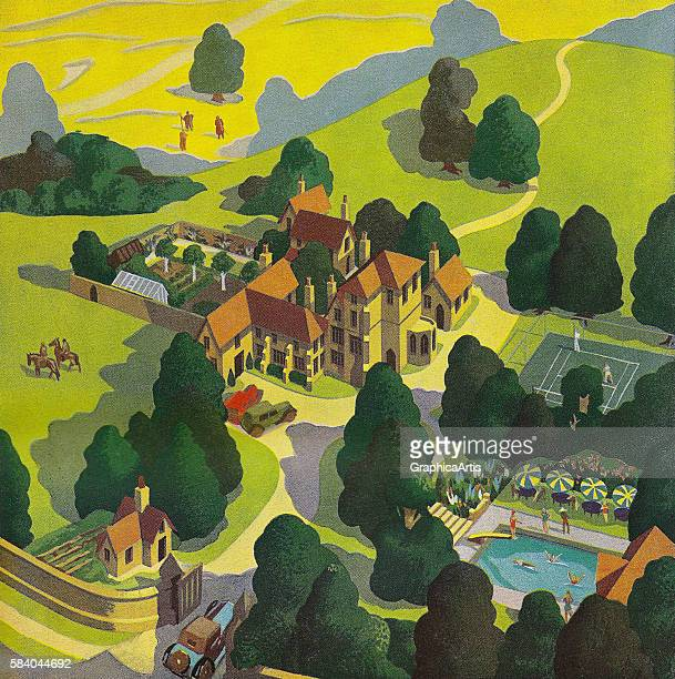 Illustration of an elegant British hotel in the countryside showing grounds pool and tennis court 1934 Screen print