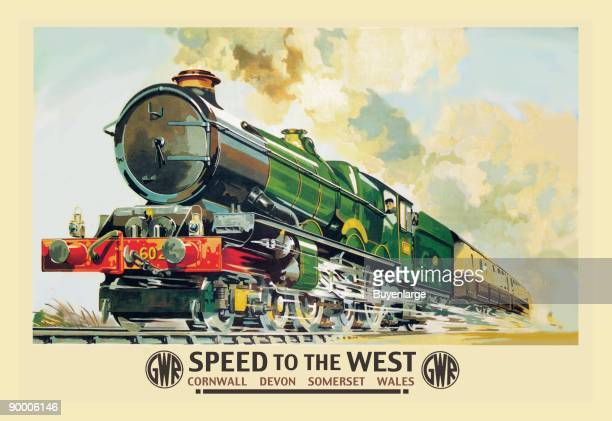 Illustration of an English Train from Decon to Wales Barrels along the track with its wheel showing motion and its green color is new design