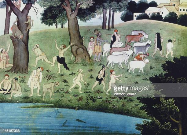 Illustration of an episode from the Bhagavad Purana The style places the illlustration with the Kangra School painting The hour of the cow dust India...