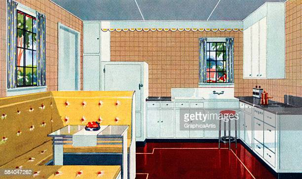 Illustration of an ideal American kitchen with an eating nook 1931 Screen print