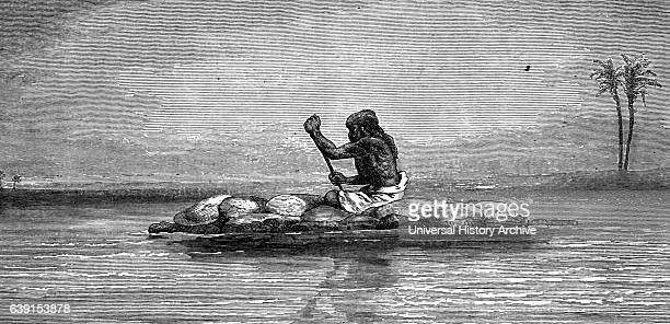 Illustration of an inflated bullock skin boat for crossing the swift Himalayan River Sutlej North India Dated 19th Century