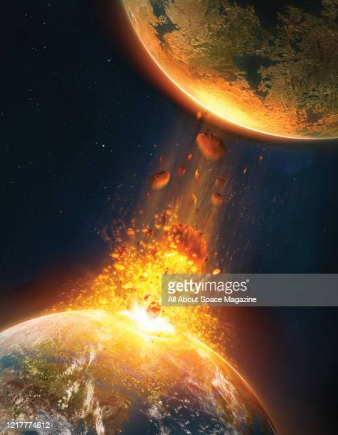 Illustration of an object such as a comet or asteroid colliding with the Earth and ejecting debris beyond the Earths atmosphere, in this case towards...