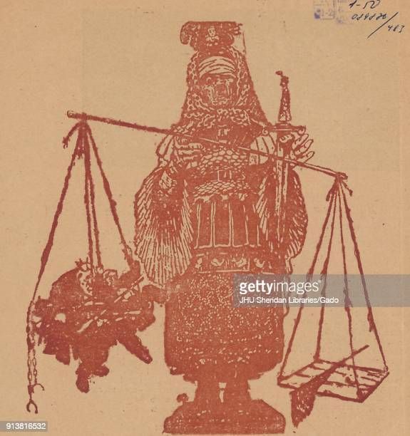 Illustration of an older peasant woman as Lady Justice, holding a scale and a sword, from the Russian satirical publication Signaly , 1906.