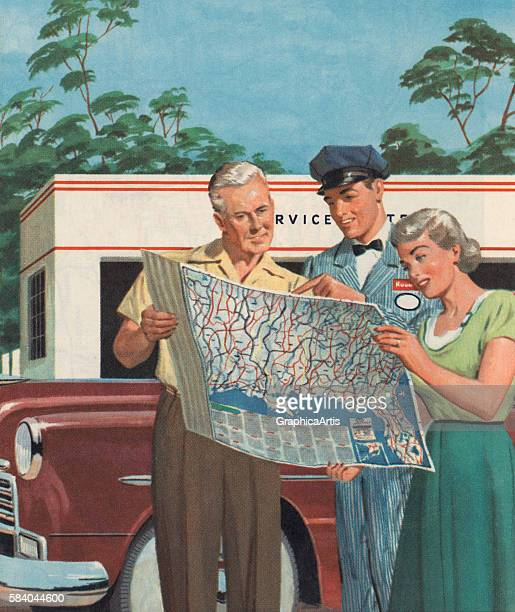 Illustration of an older tourist couple getting directions on a map from a gas station attendant 1951 Screen print