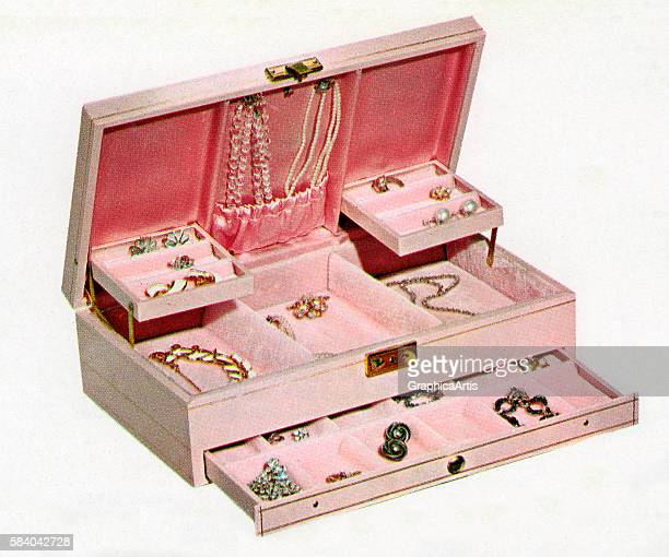 Illustration of an open retro pink jewelry box filled with women's jewelry 1958 Screen print