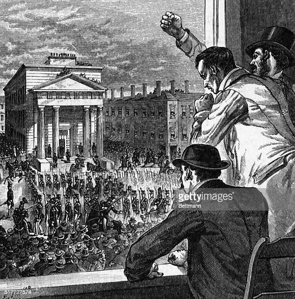 Illustration of angry citizens in Boston protesting a 1854 court order to return Anthony Burns to slavery in Virginia, in accordance with the...