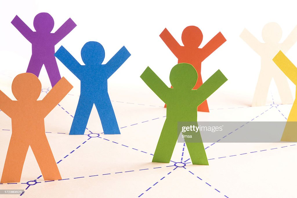 Illustration of animated figures working together : Stock Photo