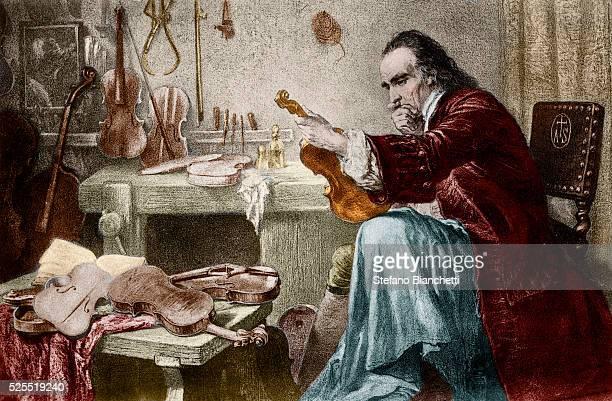 Illustration of Antonio Stradivari in His Atelier