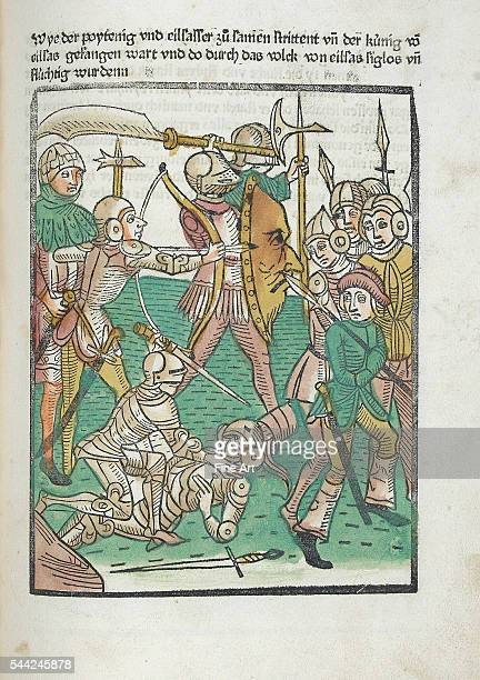 Illustration of archers and knights in armor driving the enemy into retreat from a German version of the medieval French romance 'Le Roman de...