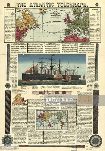 Illustration of Bacon's Chart of the Atlantic Telegraph contains a history of telegraphy the origin and progress of the Atlantic Telegraph and...