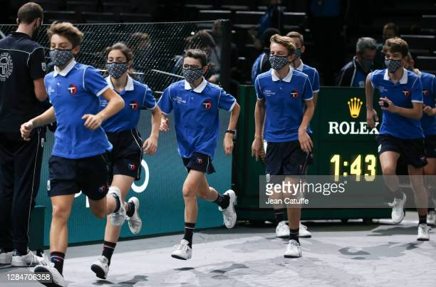 Illustration of ball boys and ball girls during day 7 of the Rolex Paris Masters, an ATP Masters 1000 tournament held behind closed doors at...
