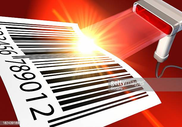 Illustration of barcode scanner with a large barcode on red