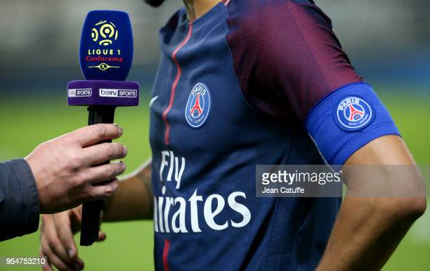 Illustration of beIN Sports following the Ligue 1 match between Amiens SC and Paris Saint Germain at Stade de la Licorne on May 4, 2018 in Amiens,...