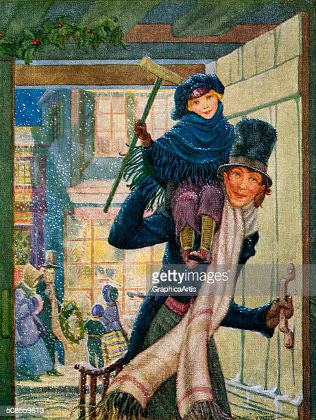 Illustration of Bob Cratchet and Tiny Tim from a scene in 'A Christmas Carol' by Charles Dickens 1909