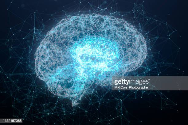 illustration of brain analysis and dna connecting line and dot ,futuristic design for digital technology and science concept - human brain stock pictures, royalty-free photos & images