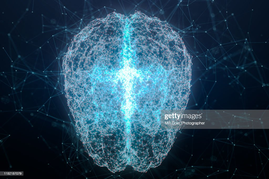illustration of Brain analysis and DNA connecting line and dot ,Futuristic design for digital technology and science concept : Stock Photo