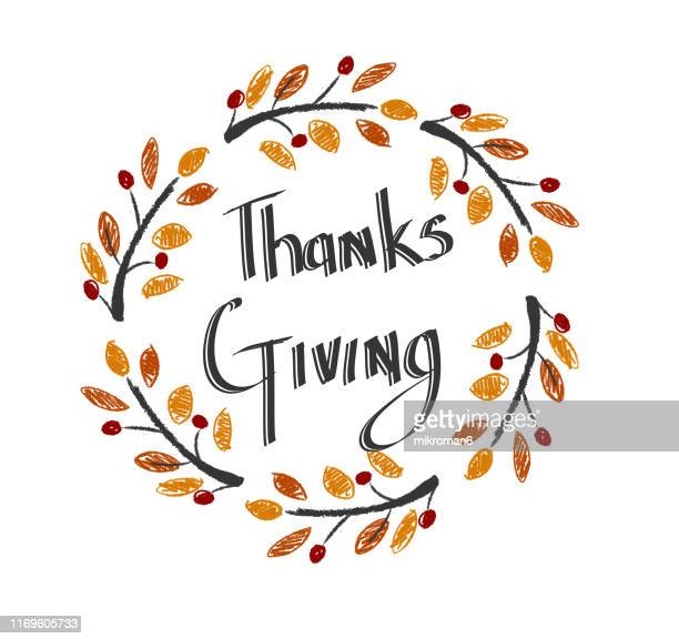 illustration of branches of tree, logo idea thanks giving - happy thanksgiving text stock pictures, royalty-free photos & images