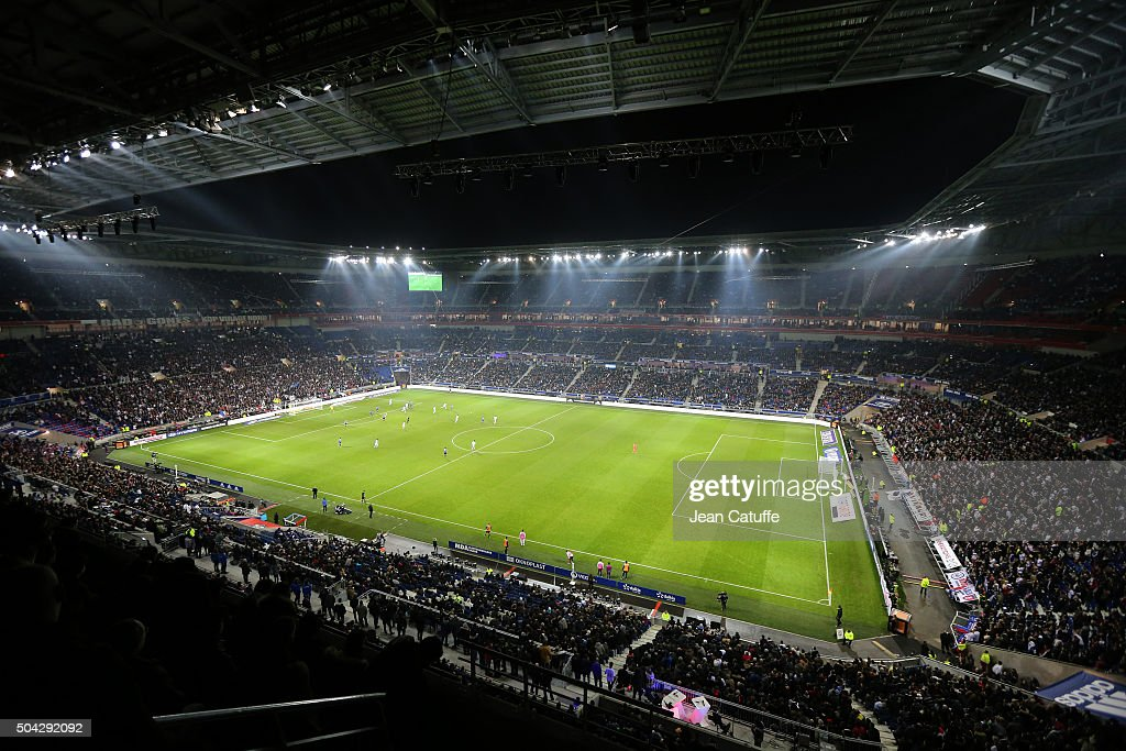 Illustration of brand new 'Parc Olympique Lyonnais' stadium during the French Ligue 1 match between Olympique Lyonnais (OL) and Troyes ESTAC at Parc Olympique Lyonnais on January 9, 2016 in Lyon, France.