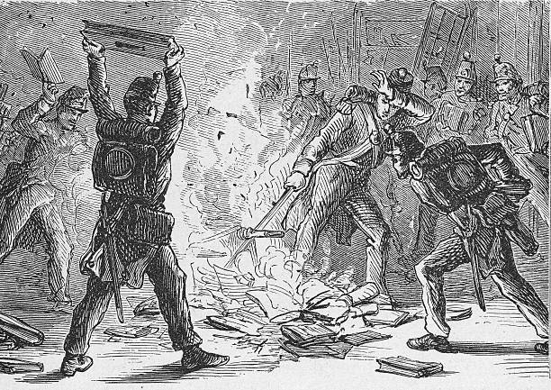 Illustration of British soldiers burning books in piles...