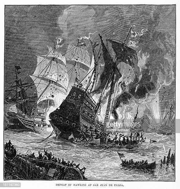 Illustration of burning ships from privateer John Hawkins' fleet Veracruz Mexico September 23 1568 Spanish forces defeated his ships while they were...