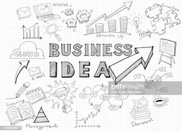 Illustration of business Idea doodles icons set
