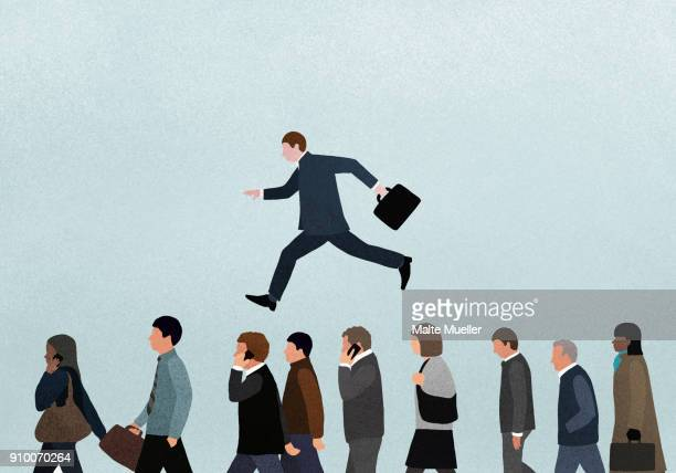 illustration of businessman jumping over people against blue background - illustration stock pictures, royalty-free photos & images