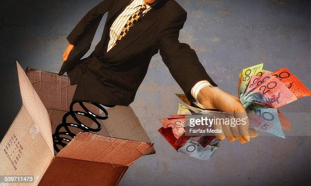 Illustration of businessman springing from box with hand full of money 26 April 2005 AFR illustration by KARL HILZINGER